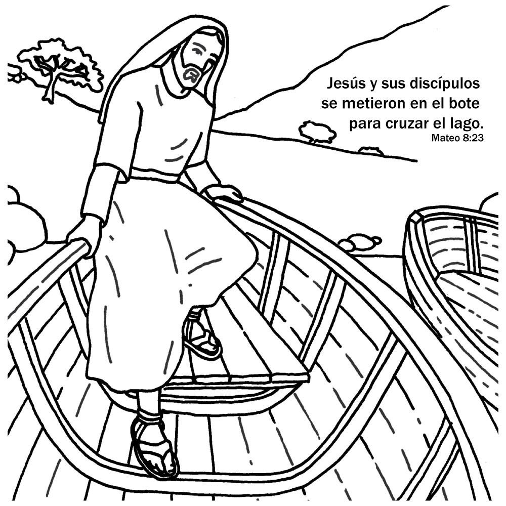 Spanish Jesus Calms the Storm Bible Story Card for kids