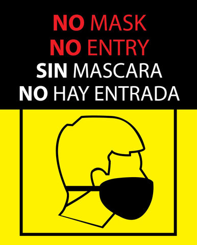 No mask no entry window cling decals