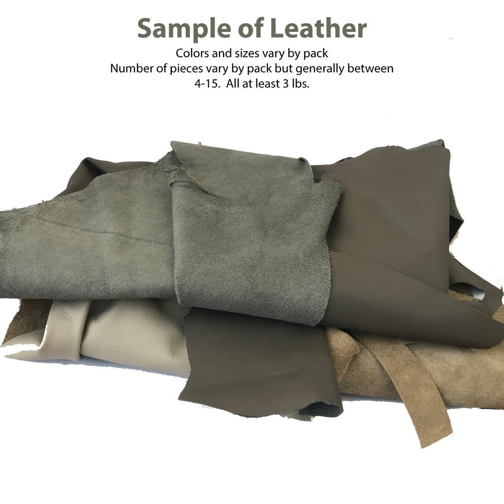 3 lbs Leather pieces: 4-10 pieces per bag