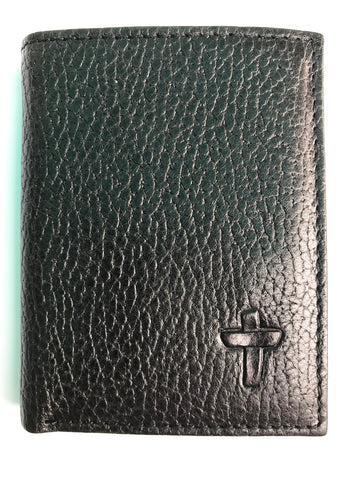 Black Leather Cowhide Trifold Wallet