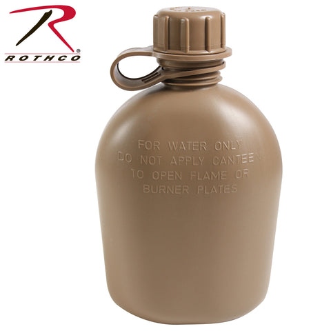 Genuine G.I. 3 Piece 1 Quart Plastic Canteen Coyote Brown 936