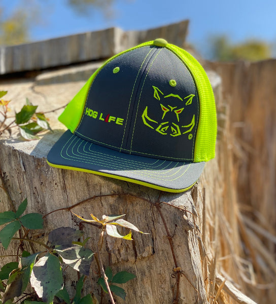 Chartreuse Hog Life Cap-Fitted