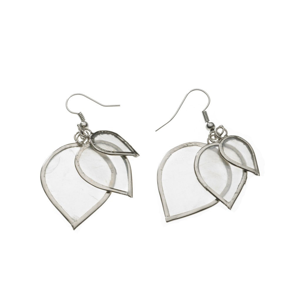 Capiz Shell Layered Leaf Earrings - fairtribe