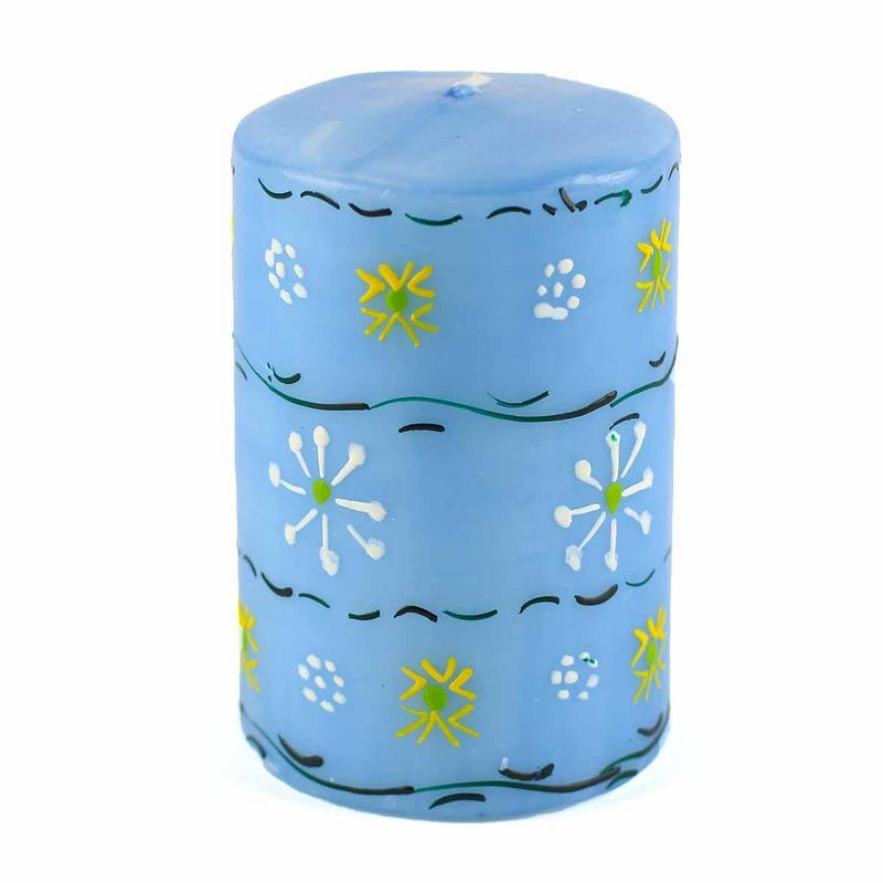 Hand Painted Candles in Blue Masika Design (pillar) - Nobunto - fairtribe