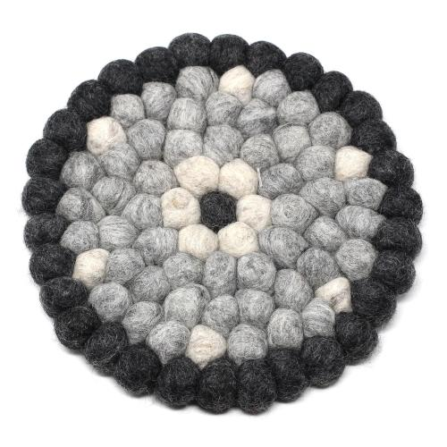 Hand Crafted Felt Ball Hot Pad from Nepal: Round Flower Design, Black/Grey - fairtribe