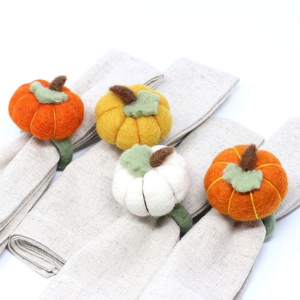 Pumpkin Napkin Rings - Set of Four Colors - Global Groove (T) - fairtribe
