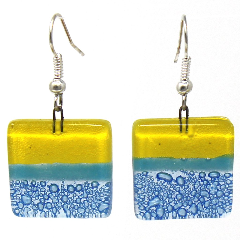 Yellow & Blue | Square Glass Dangle Earrings
