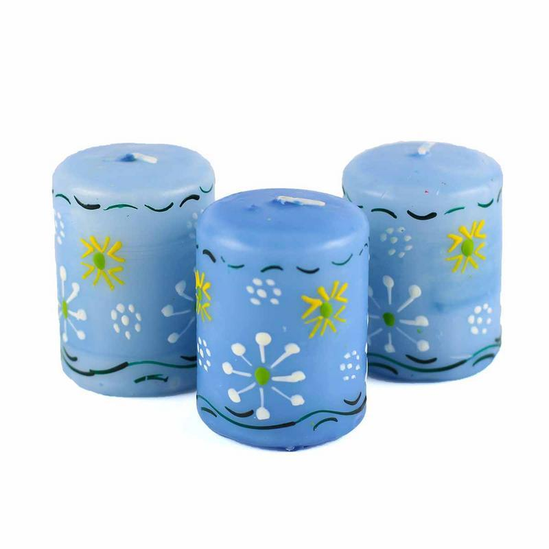 Hand Painted Candles in Blue Masika Design (box of three) - Nobunto - fairtribe