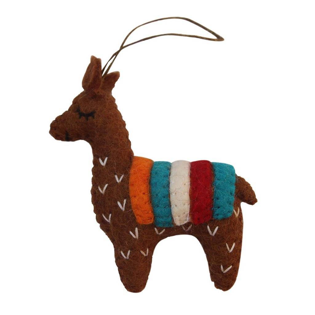 Brown Felt Llama Ornament - Global Groove (H) - fairtribe