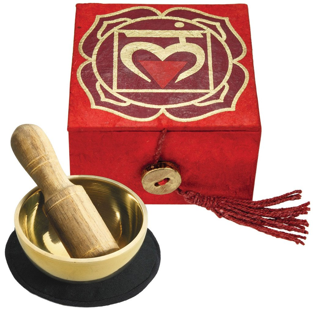 "Mini Meditation Bowl Box: 2"" Root Chakra - DZI (Meditation) - fairtribe"