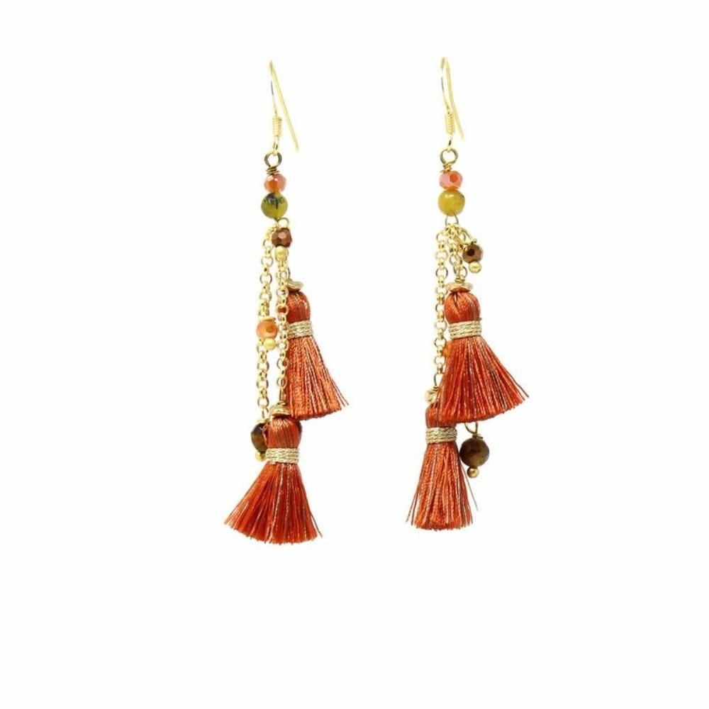 Rebecca Earring, Rust - Orange Tassel - fairtribe