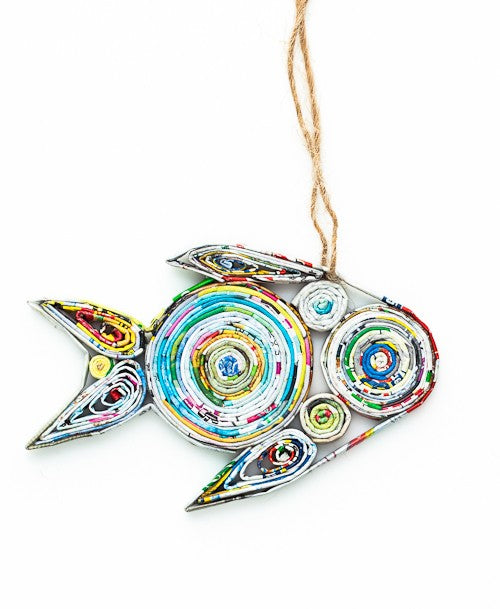 Recycled Paper Ornament - FISH - fairtribe