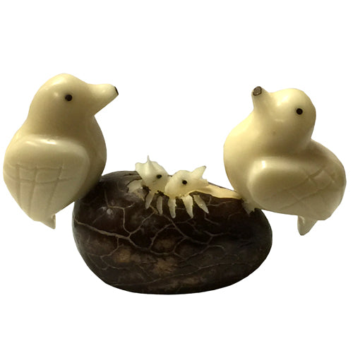 Caring Doves in a Nest Tagua Nut Figurine - fairtribe