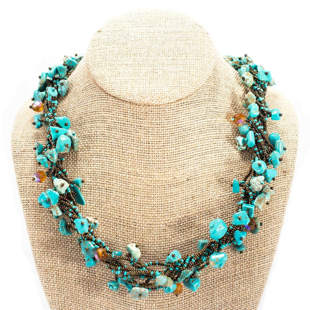Chunky Stone Necklace - Turquoise - Lucias Imports (J) - fairtribe