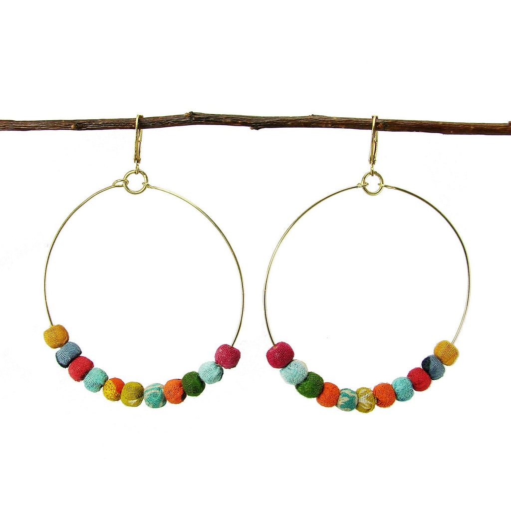 Kantha Beaded Hoop Earrings - WorldFinds - fairtribe