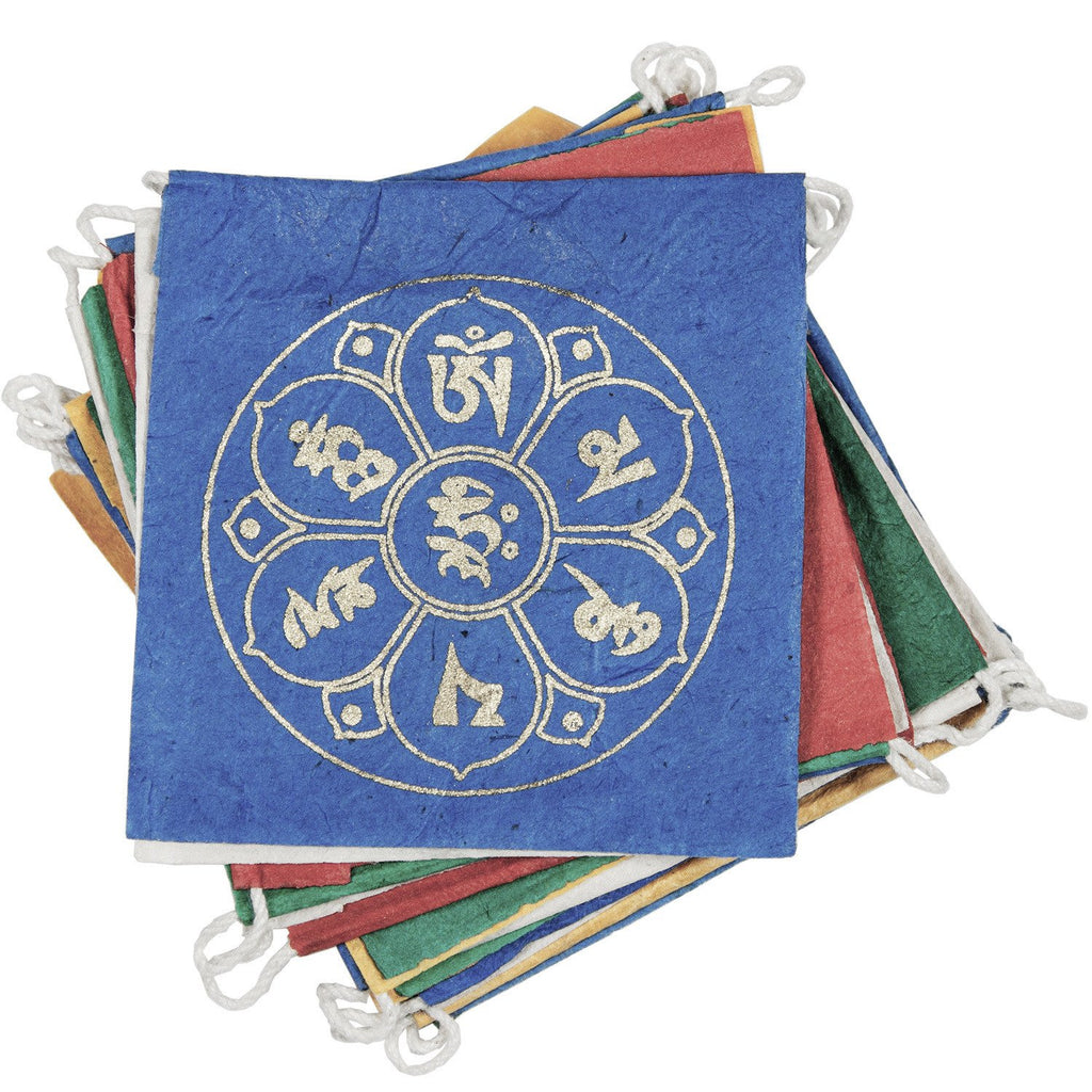 Paper Prayer Flag Om Lotus 8 ft. long - Tibet Collection - fairtribe