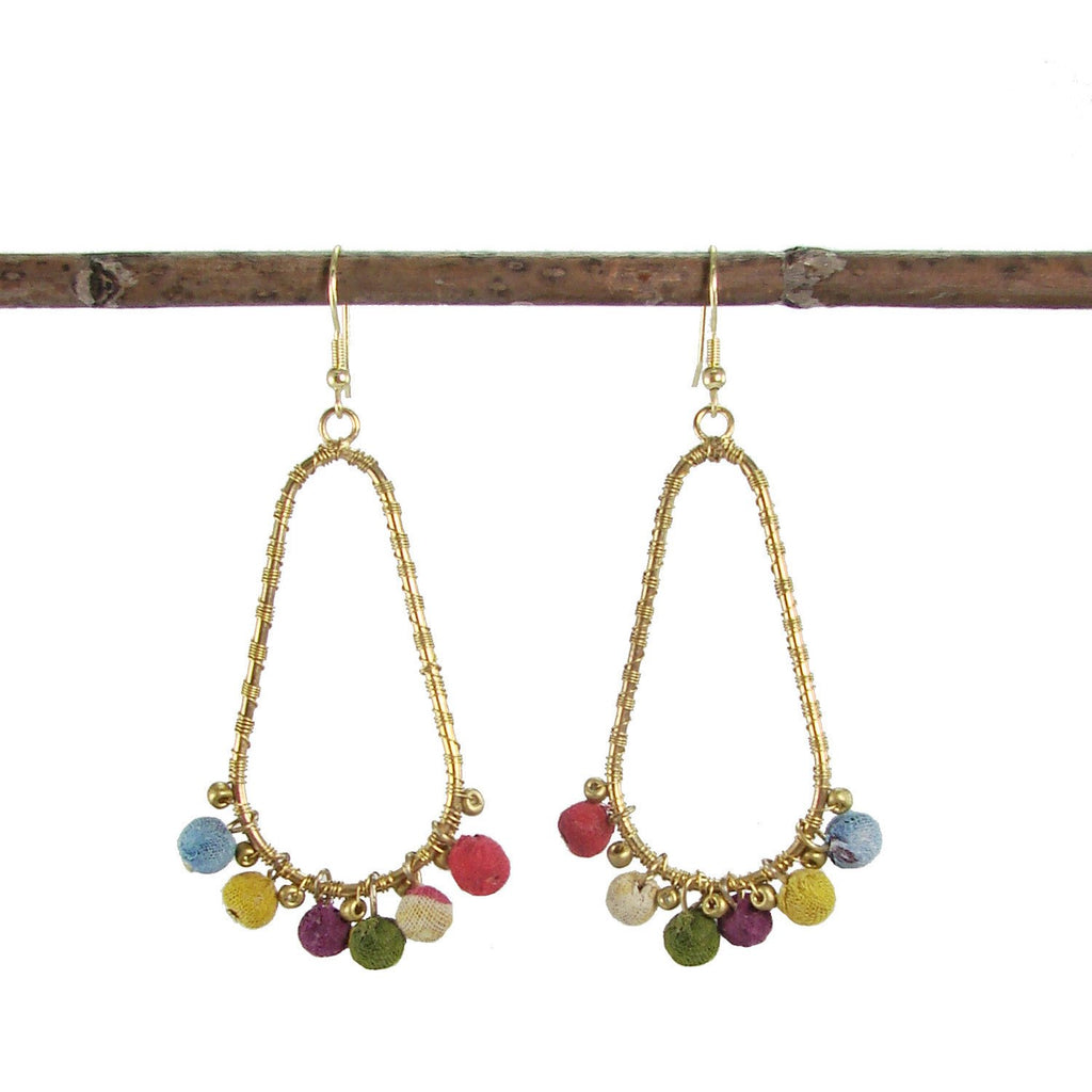 Kantha Beaded Fan Earrings - WorldFinds - fairtribe