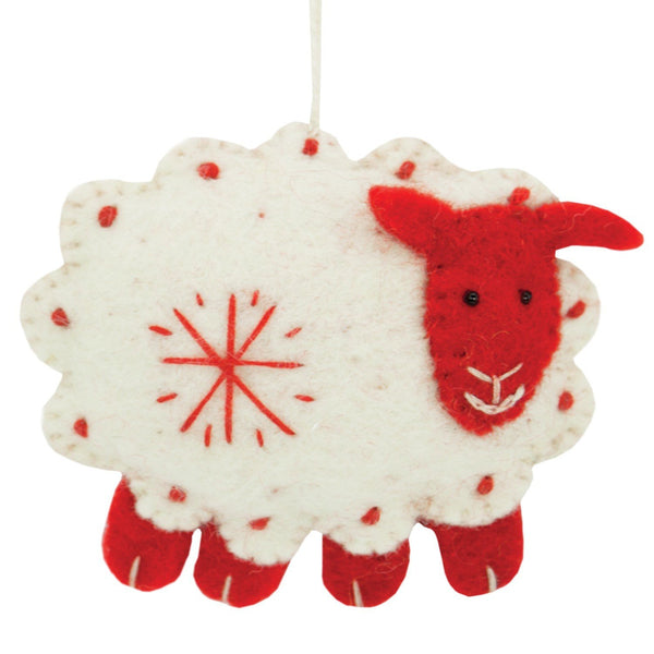 White Felt Sheep Holiday Ornament - Wild Woolies (H) - fairtribe