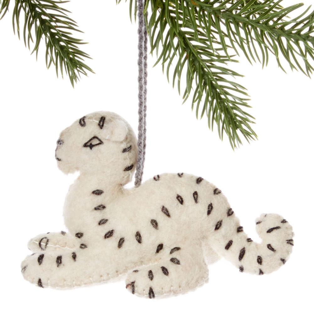 Snow Leopard Felt Holiday Ornament - Silk Road Bazaar (O) - fairtribe