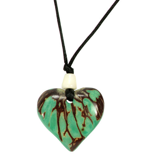 Tagua Nut Green Heart Pendant - fairtribe