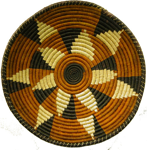 Brown and  Black Pattern - Woven Sisal Basket - fairtribe