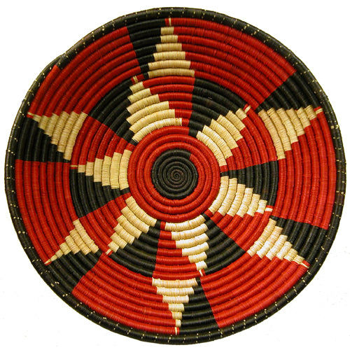 Red and Black Pattern - Woven Sisal Basket - fairtribe
