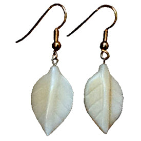 Tagua Nut Leaf Earrings