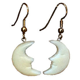 Tagua Nut Moon Earrings