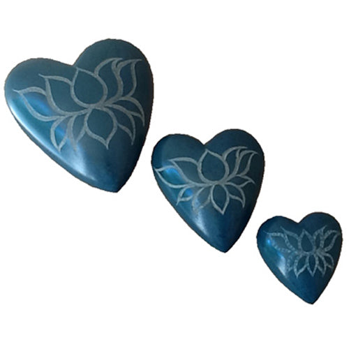 3 sizes | Teal Lotus Flower  Heart Carved Soapstone | Crafted in Haiti