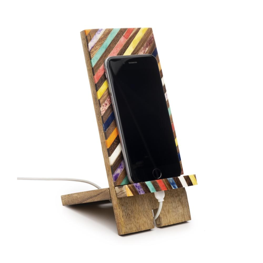 Smartphone Wooden Dock | Rainbow Stripe