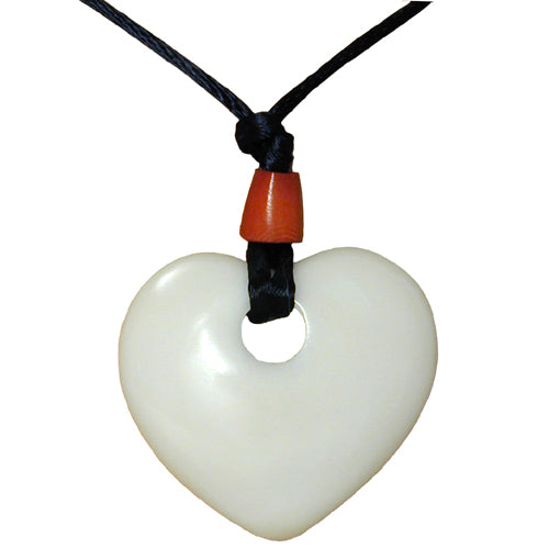 Tagua Nut Natural Heart Pendant - fairtribe