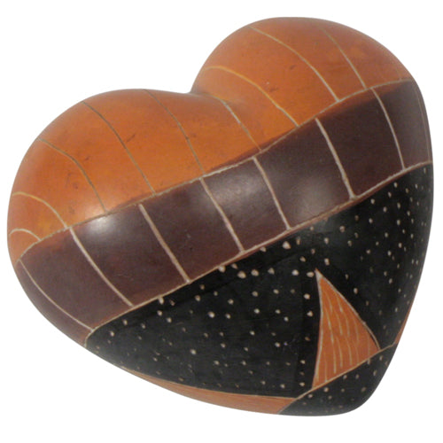 Carved Soapstone Heart - Natural Motifs - fairtribe