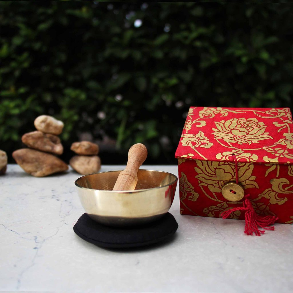 Meditation Bowl Box: 3'' Red Lotus - DZI (Meditation)