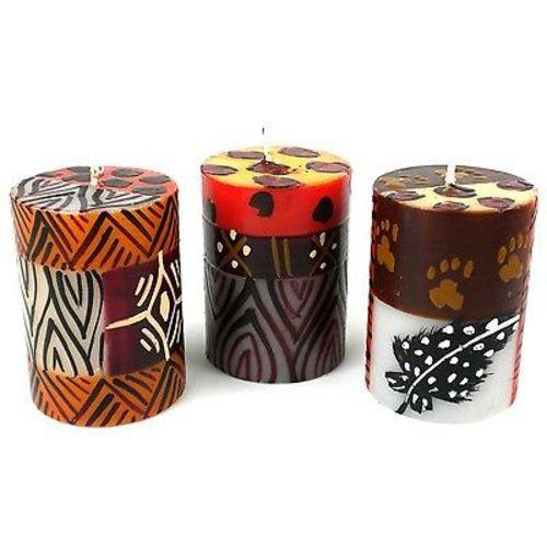 Set of Three Boxed Hand-Painted Candles - Uzima Design - Nobunto - fairtribe