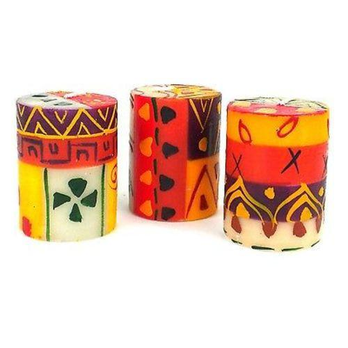 Set of Three Boxed Hand-Painted Candles - Indaeuko Design - Nobunto - fairtribe