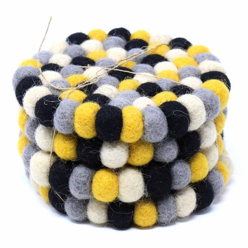 Hand Crafted Felt Ball Coasters from Nepal: 4-pack, Mustard - Global Groove (T) - fairtribe