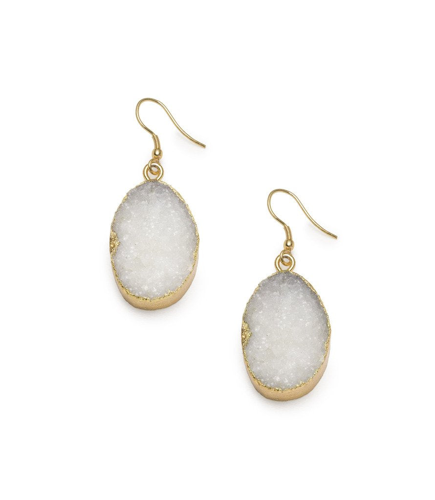 Rishima Druzy Drop Earrings - White - Matr Boomie (Jewelry) - fairtribe
