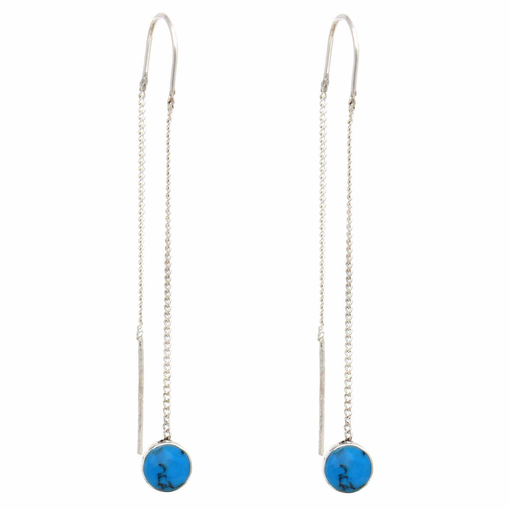 Threaded Chain Turquoise Drop Earrings