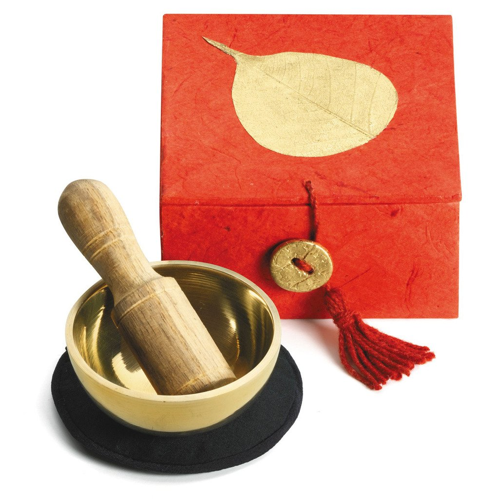 "Mini Meditation Bowl Box: 2"" Gold Bodhi - DZI (Meditation) - fairtribe"