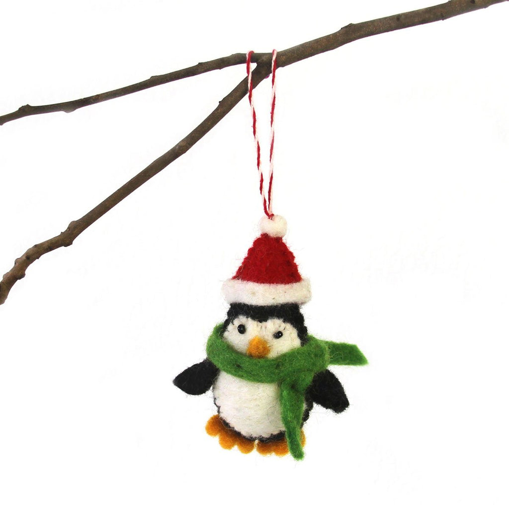 Hand Felted Christmas Ornament: Penguin