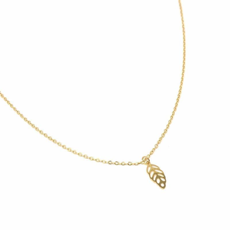 Leaf Charm Necklace with Chain - 14k gold plated - fairtribe