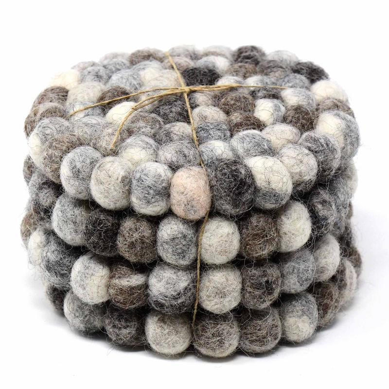 Felt Ball Coasters from Nepal: 4-pack, Unicolor Grey - fairtribe