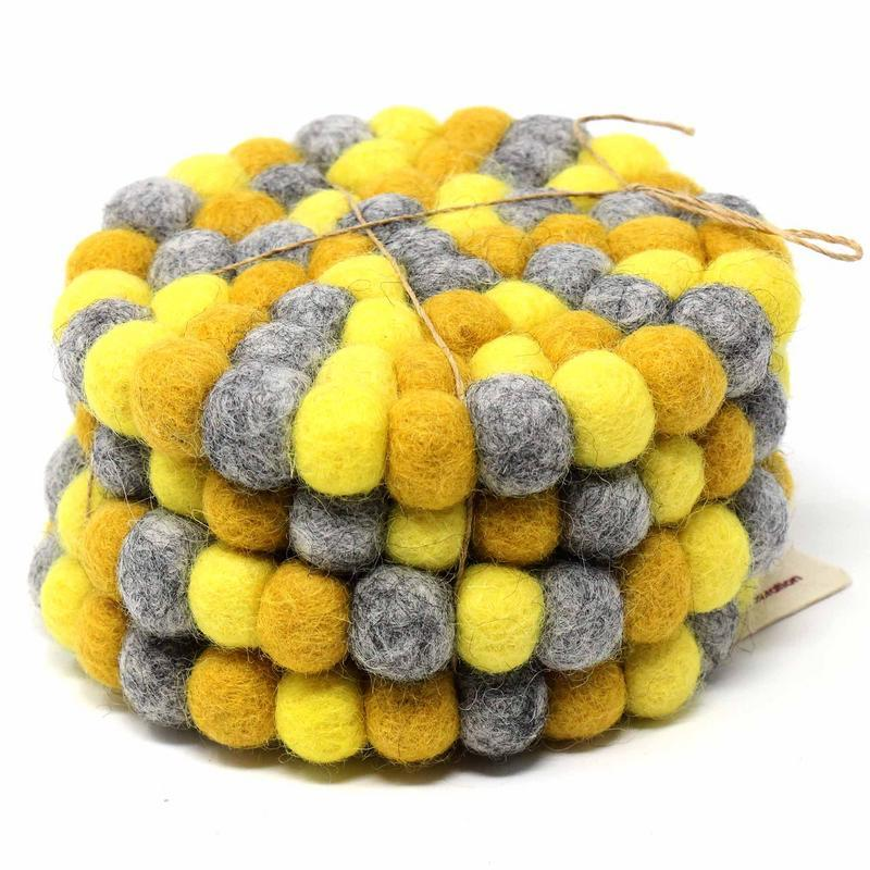 Hand Crafted Felt Ball Coasters from Nepal: 4-pack, Chakra Yellows - Global Groove (T) - fairtribe