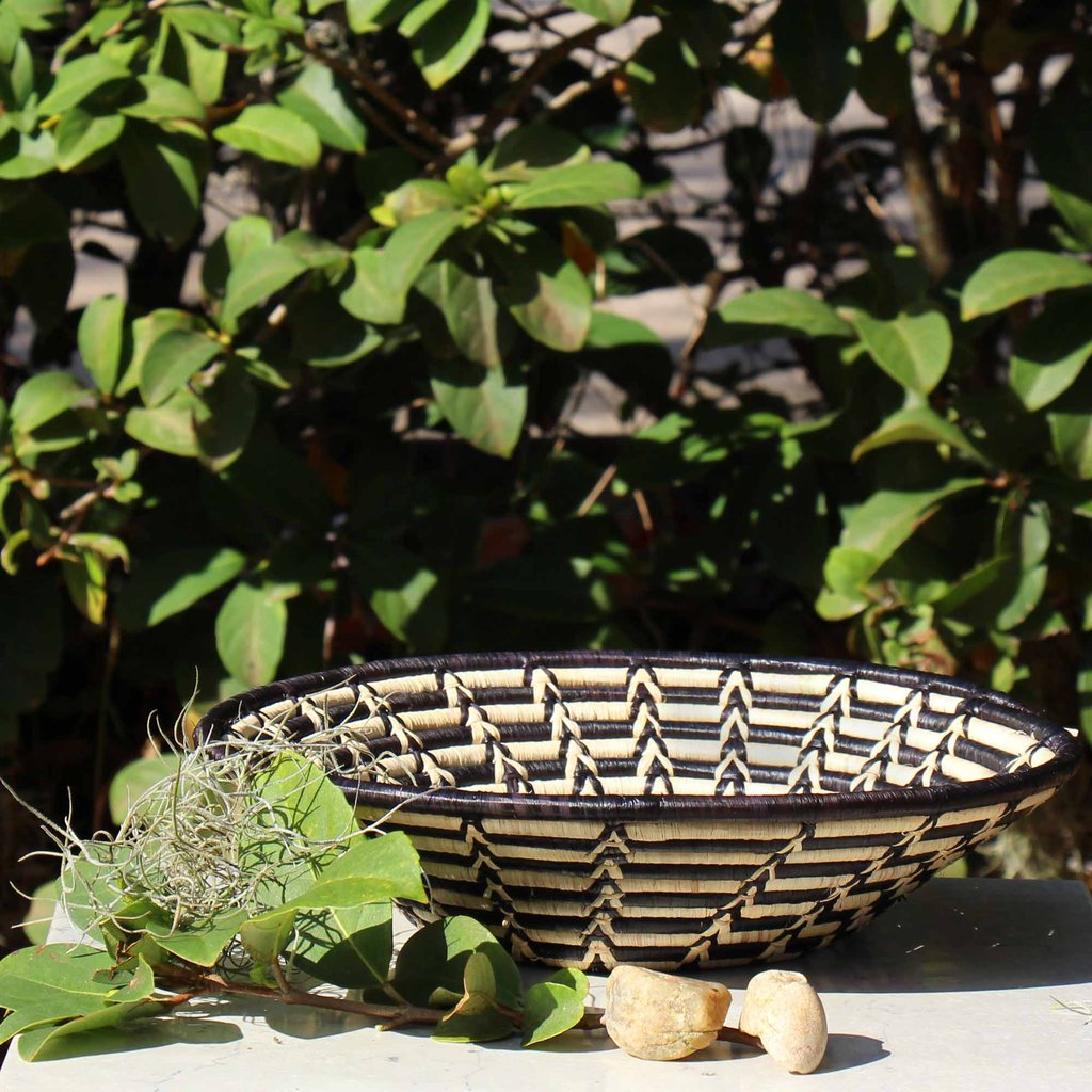 Woven Sisal Basket | Black & White Pattern | Artisan made in Kenya