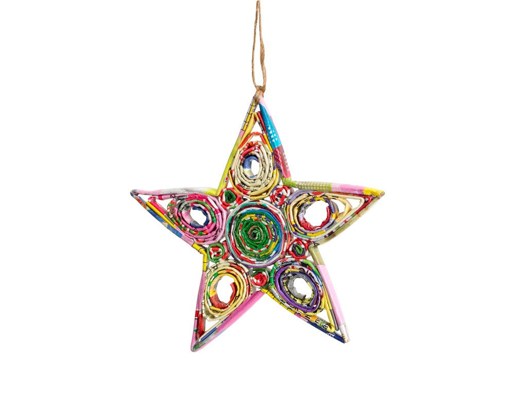Recycled Paper Ornament - STAR - fairtribe