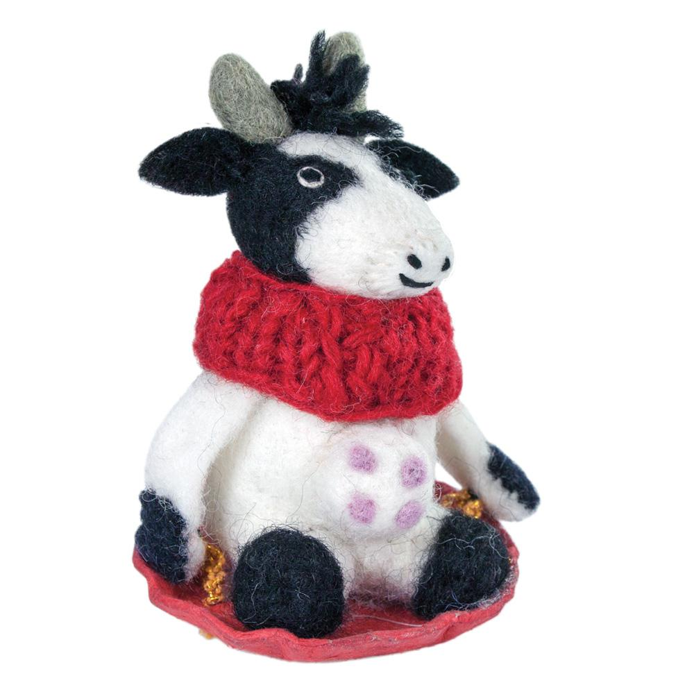 Bessie the Cow Felt Holiday Ornament - Wild Woolies (H) - fairtribe