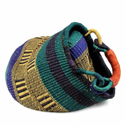 Bolga Pot Design Market Basket, Mixed Colors