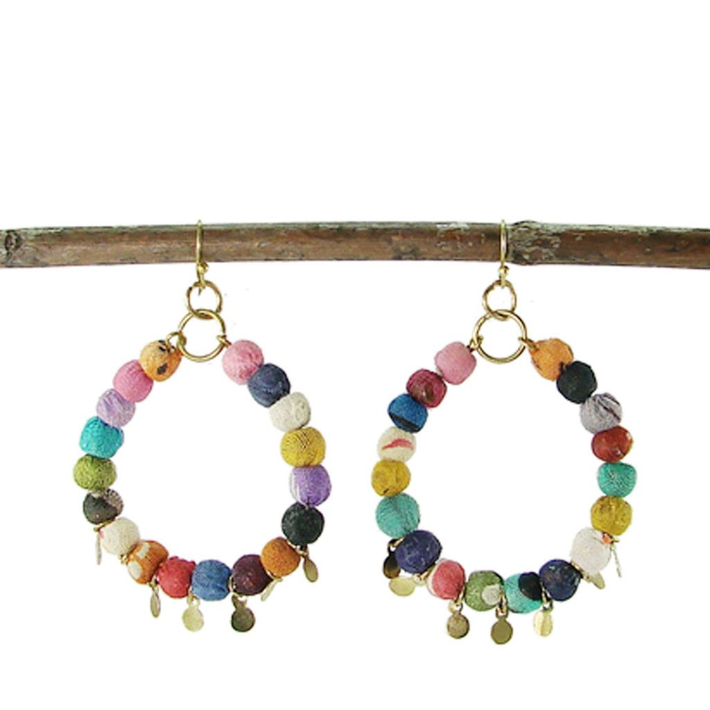 Kantha Disc Hoop Earrings - WorldFinds - fairtribe