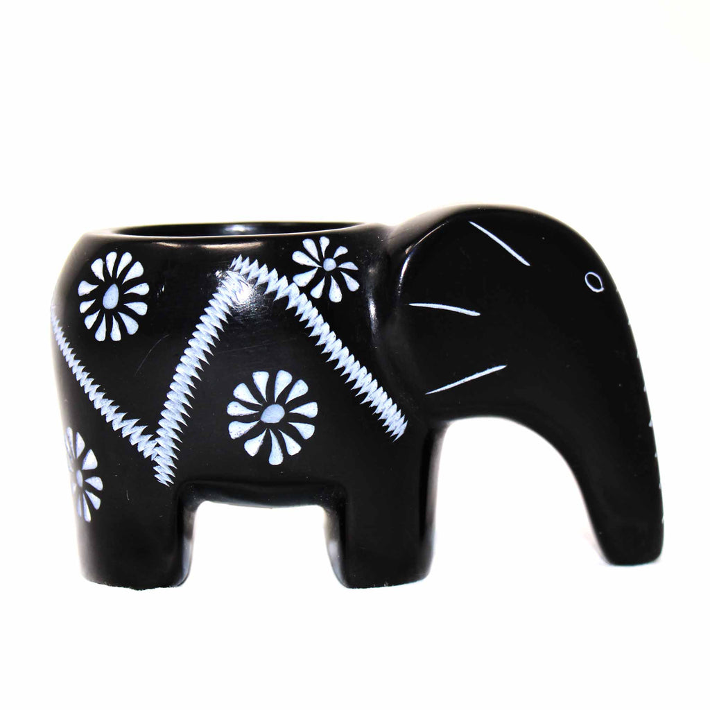 Elephant Soapstone Tea Light - Black Finish with Etch Design