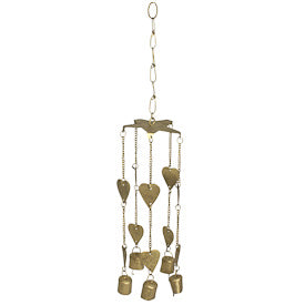 Recycled Metal Hearts & Bells Wind Chime